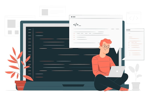 Code typing concept illustration Free Vector