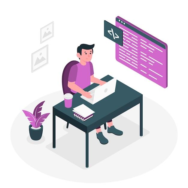 Иллюстрация концепции ввода кода Бесплатные векторы