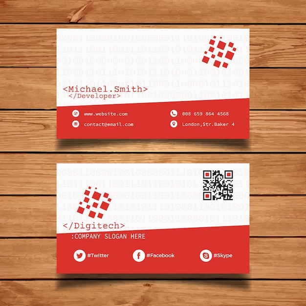 Coder business card template vector free download coder business card template free vector reheart Images