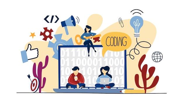 コーディングの概念。プログラミングとウェブ。プログラマーとして働いています。現代のテクノロジーのアイデア。図 Premiumベクター