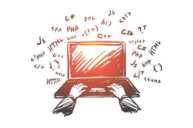 Coding, programmer, laptop, internet, work concept. hand drawn hand of programmer on laptop with code concept sketch. Premium Vector