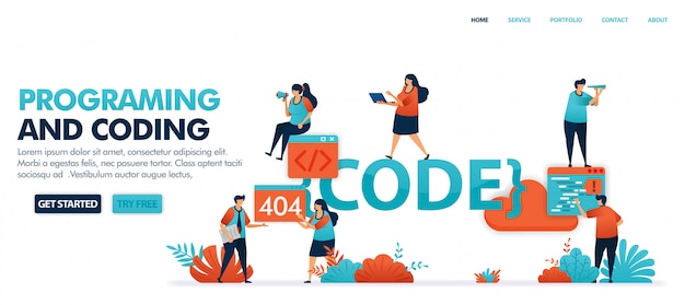 Coding and programming to find bugs in code set in solving error problems, 404, not found. Premium Vector