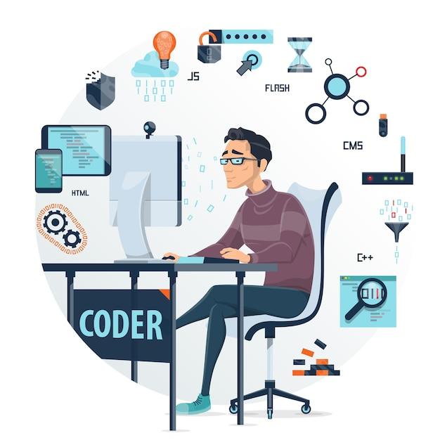 Составление раунда кодирования Бесплатные векторы