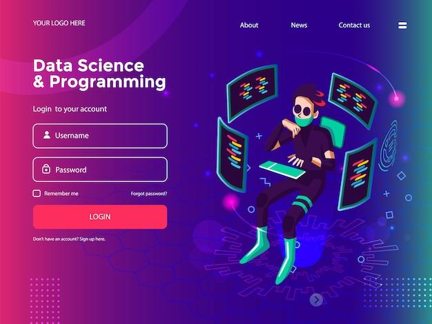 Наука о данных, программирование, разработка программного обеспечения, разработка игр, бизнес-график, аналитические данные и шаблон сайта coding Premium векторы