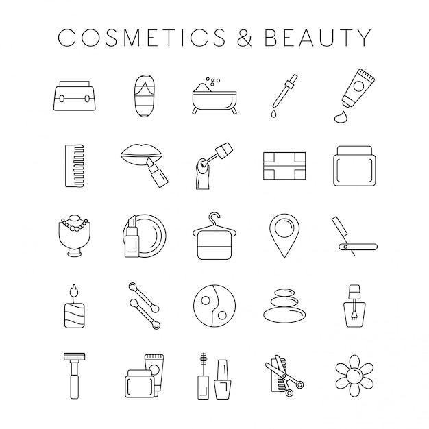 Coesmetic and beauty icons set Free Vector