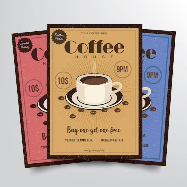 Cofee house flyer template vector Premium Vector