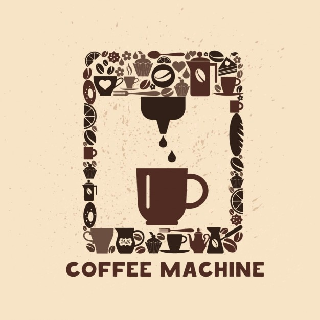 Cofee значок машина набор маленьких иконок Бесплатные векторы