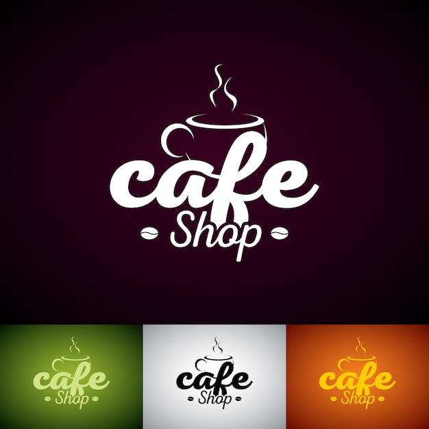 Шаблон дизайна логотипа coffe cup. набор иллюстраций этикетки cofe shop с различным цветом. Premium векторы