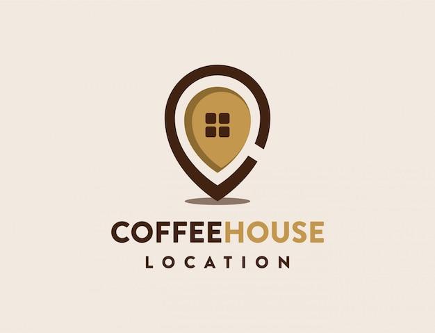 Coffe house pin logo Premium Vector