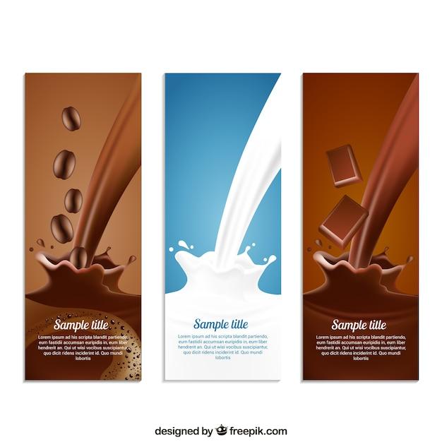 Coffe, milk and chocolate Free Vector