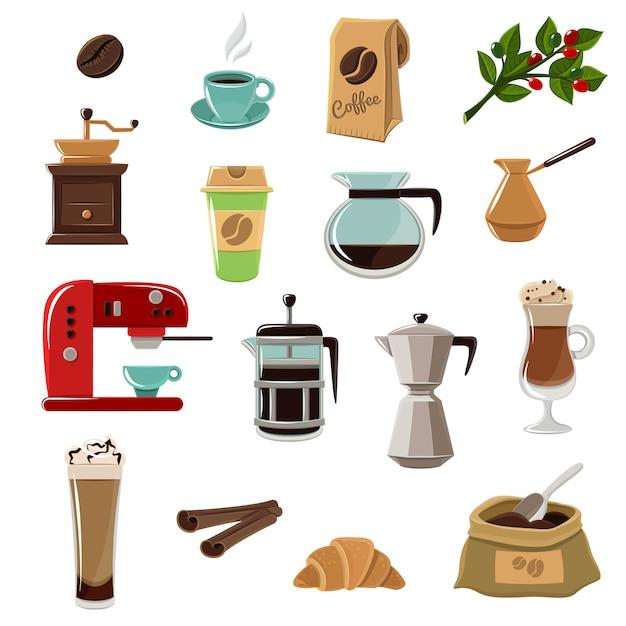 Набор кофе ретро плоских иконок Бесплатные векторы