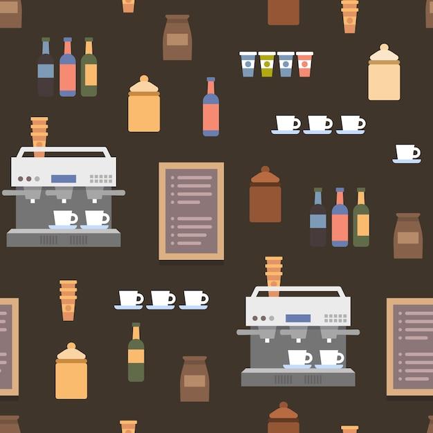 Coffe shop flat elements Premium Vector