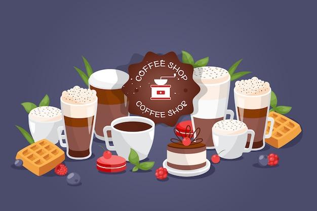 コーヒーショップ大詰め合わせ別の飲み物、イラスト。カフェのロゴ、カップ、グラス、コーヒー、エスプレッソ、マグ Premiumベクター