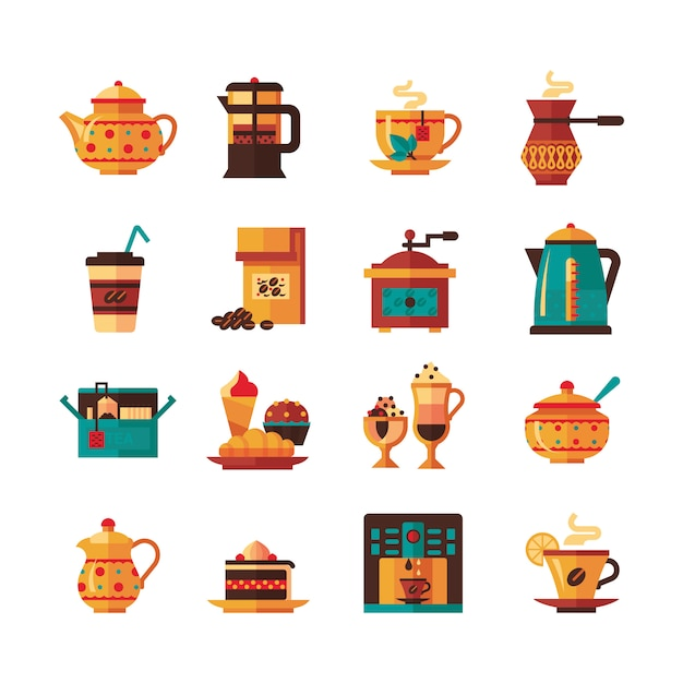Coffe and tea set  icons flat Free Vector