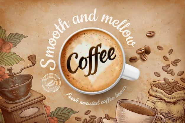 Реклама кофе с чашкой с видом сверху и гравировкой в стиле ретро в коричневых тонах Premium векторы