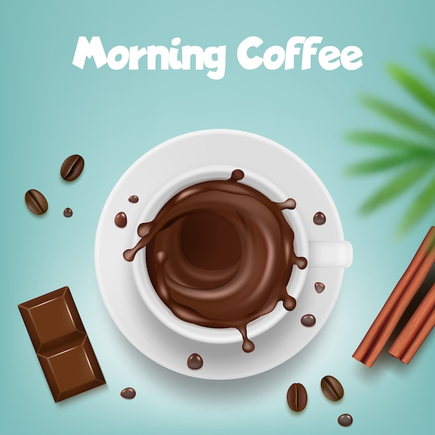 Реклама кофе. плакат с кофейной кружкой с горячими коричневыми вкраплениями и фасолью векторный шаблон продукта Premium векторы
