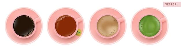 Кофе американо, черный чай, латте и зеленый чай матча в розовой чашке, вид сверху Premium векторы