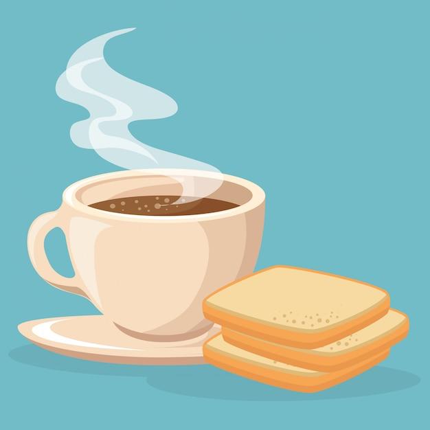 コーヒーとパンのトースト 無料ベクター