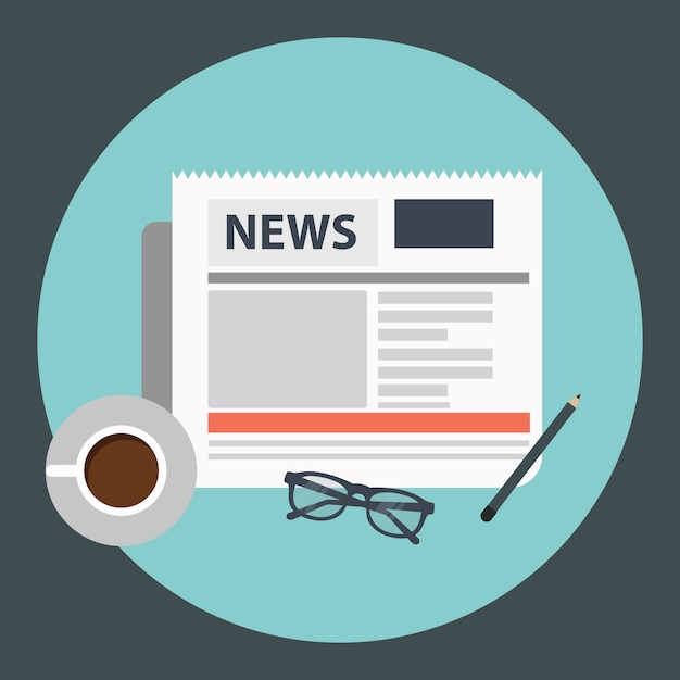 Coffee and newspaper Free Vector