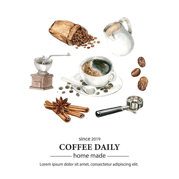 Coffee arabica beans bag with coffee cup americano, cinnamon coffee maker watercolor illustration Free Vector