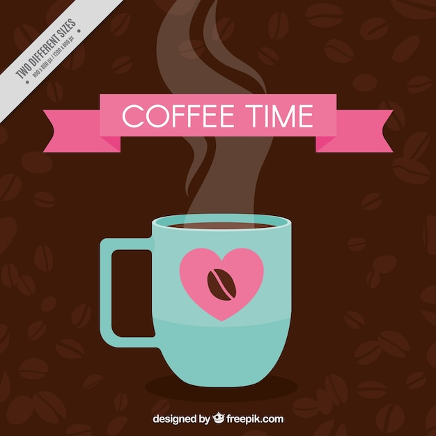 Coffee background with cup and pink\ elements