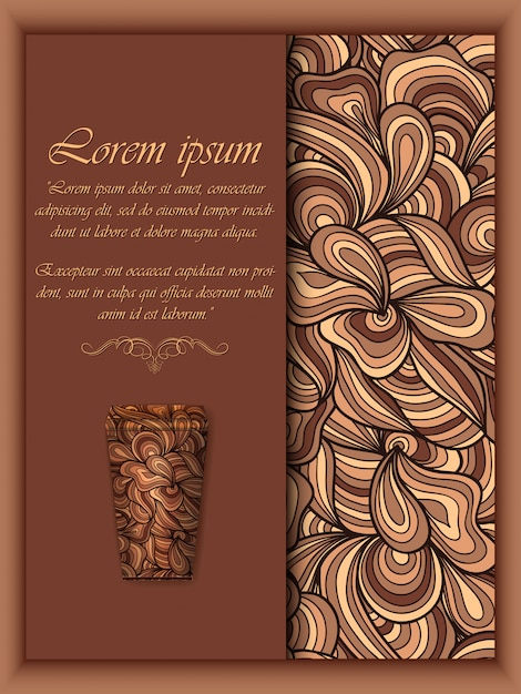 Coffee background with floral pattern elements Free Vector