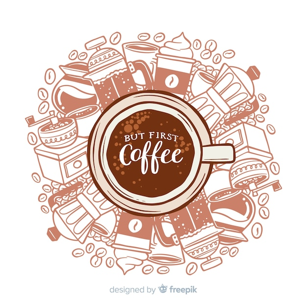 Coffee background Free Vector