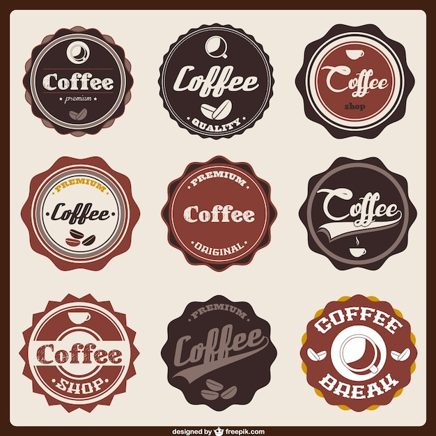 Coffee badge icons Vector | Free Download
