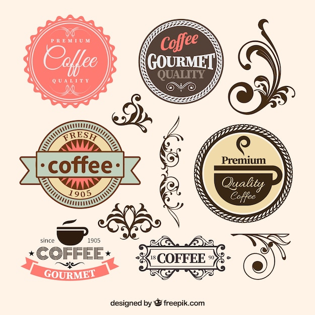 Coffee badges in retro style Vector | Free Download