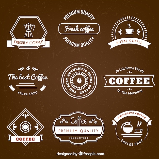 Coffee badges in retro style
