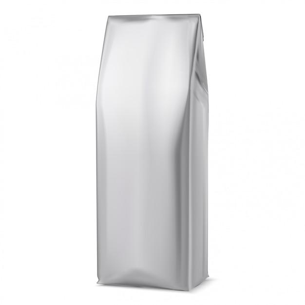 Макет кофейной сумки, пакет из белой фольги, 3d мешочек Premium векторы