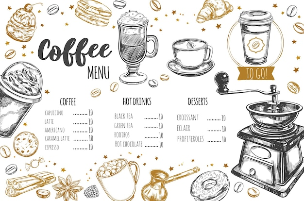Coffee and bakery restaurant menu Premium Vector