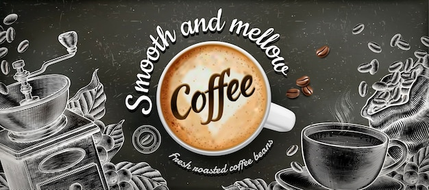 Coffee banner ads with  illustratin latte and woodcut style decorations on chalkboard background Premium Vector