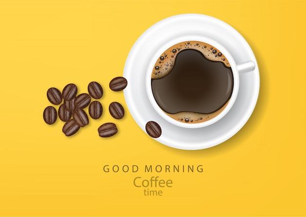 Coffee banner realistic coffee beans  illustration Premium Vector