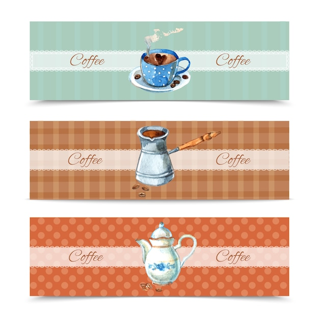 Coffee banners set Free Vector