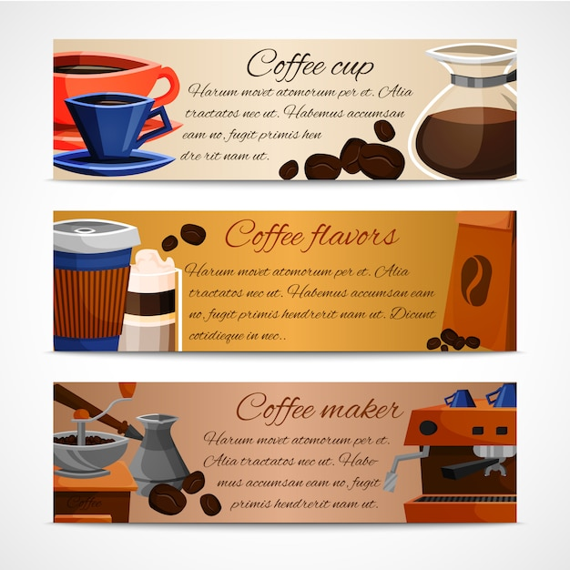 Coffee banners template set Free Vector