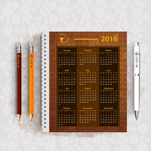 Coffee bar business calendar design Free Vector
