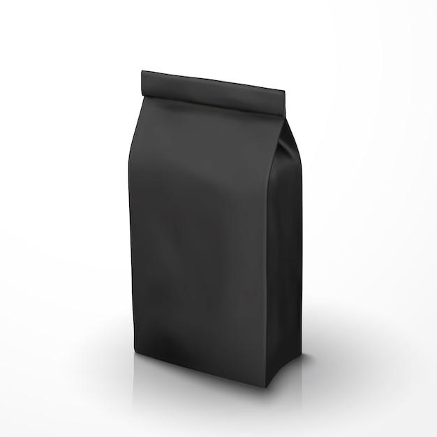 Пакет кофейных зерен, пакет из черной фольги на иллюстрации для использования Premium векторы