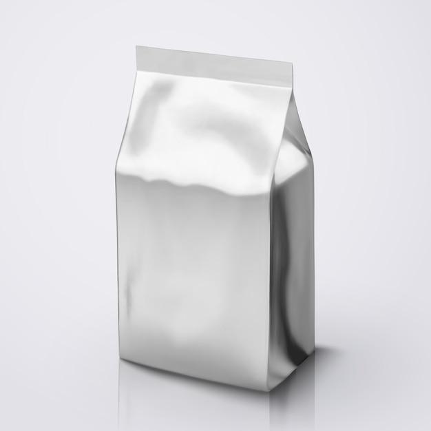Пакет кофейных зерен, пакет из серебряной фольги на иллюстрации для использования Premium векторы