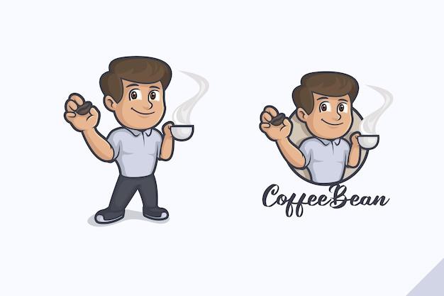 コーヒー豆の味ロゴ Premiumベクター