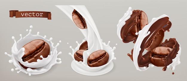 Кофе в зернах и молочные брызги. 3d реалистичный набор Premium векторы