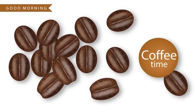 Coffee beans realistic  illustration Premium Vector