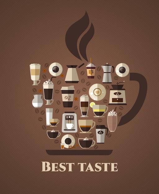 Плакат лучшего вкуса кофе. латте и на вынос, мокко и кофейня, американо и капучино, эспрессо и ароматизаторы, фасоль. Бесплатные векторы