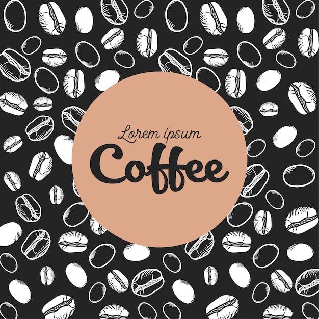 Кофе черные и белые зерна дизайн времени пить завтрак магазин напитков Premium векторы
