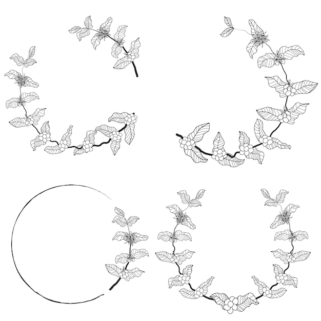 Coffee branch wreath frame collection Premium Vector