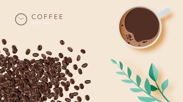 Кофе-брейк фон с чашкой кофе и пастельной цветовой гаммой Premium векторы