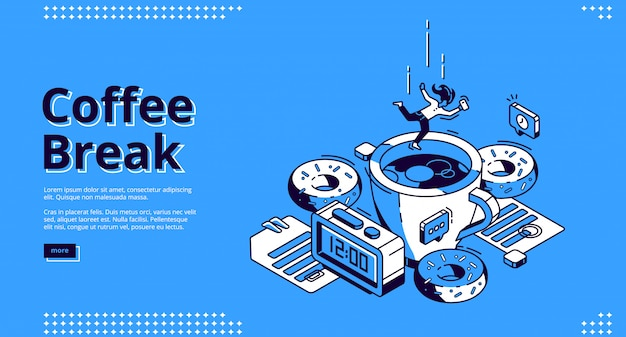 Coffee break isometric banner, breakfast Free Vector