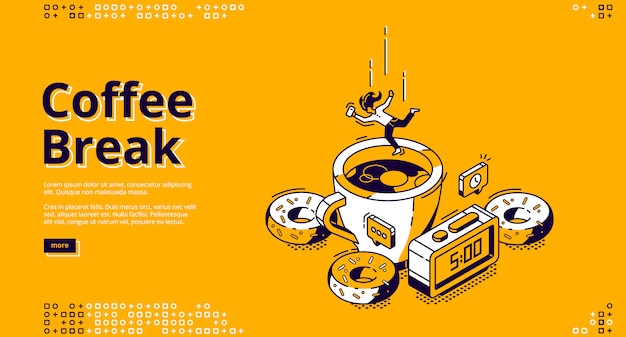 Coffee break isometric landing page, breakfast Free Vector