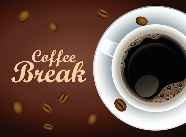 Coffee break lettering poster with cup and seeds vector illustration design Premium Vector