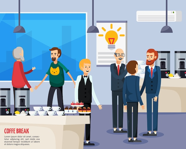Coffee break orthogonal flat composition Free Vector